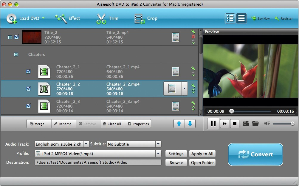 Aiseesoft Mac DVD to iPad 2 Converter