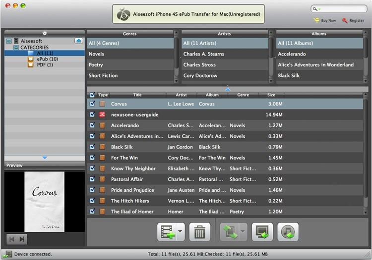 Aiseesoft Mac iPhone 4S ePub Transfer