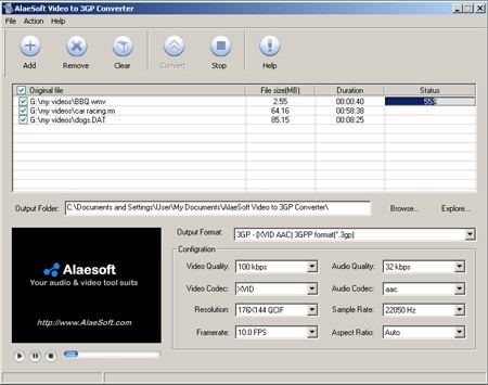 AlaeSoft Video to 3GP Converter