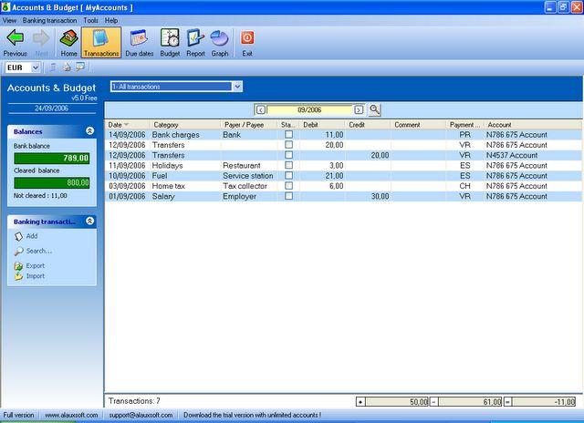 AlauxSoft Accounts and Budget Free