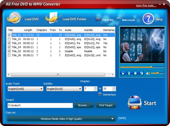 All Free DVD to WMV Converter