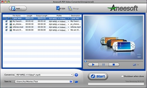 Aneesoft PSP Video Converter for Mac