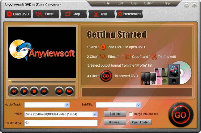 Anyviewsoft DVD to Zune Converter