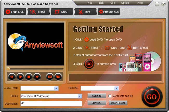 Anyviewsoft DVD to iPod Nano Converter