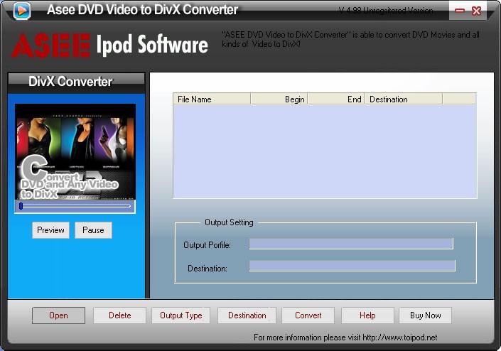 Asee DVD Video to DivX Converter