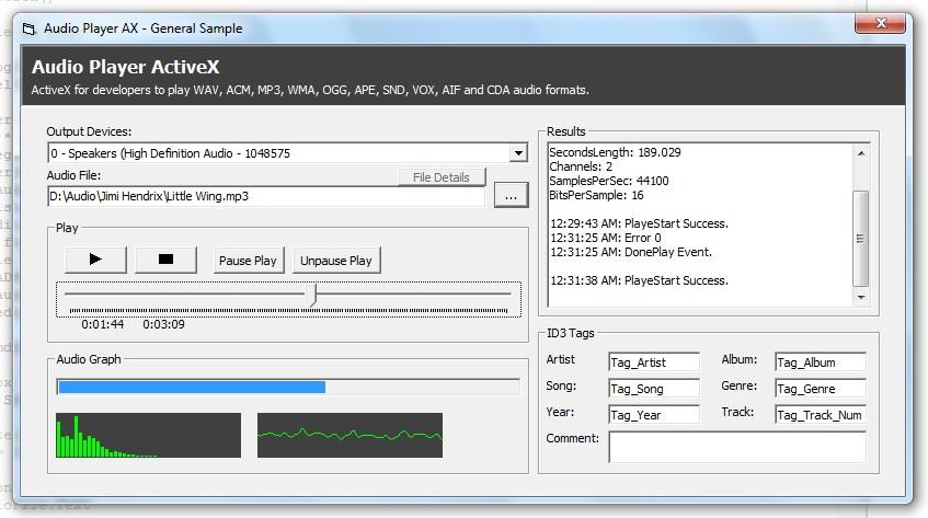 Audio Player ActiveX