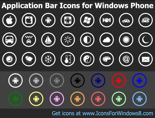 Bar Icons for Windows Phone
