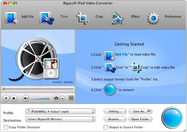 Bigasoft iPod Video Converter for Mac