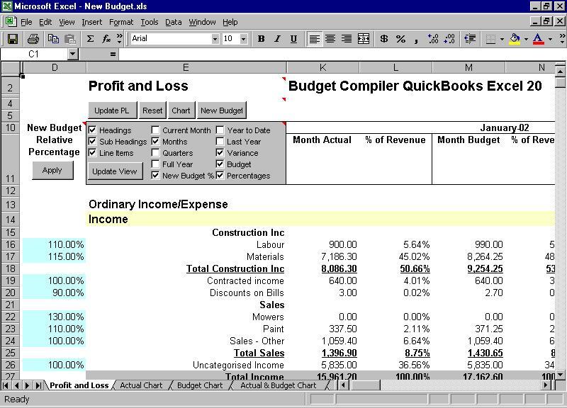 Budget Compiler QuickBooks Excel