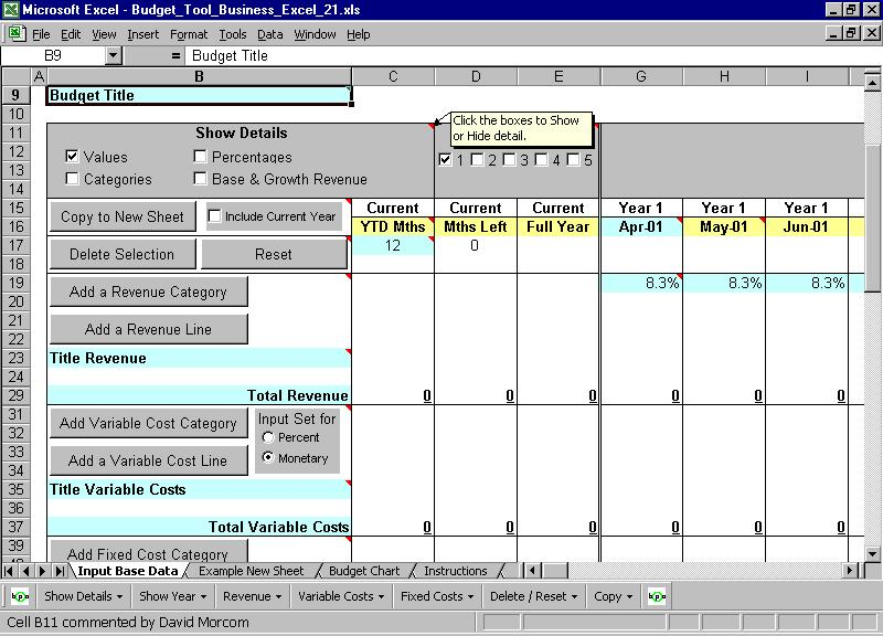 Budget Tool Business Excel