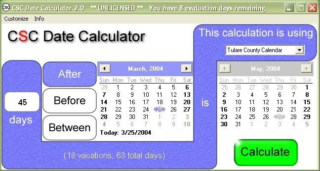 CSC Date Calculator