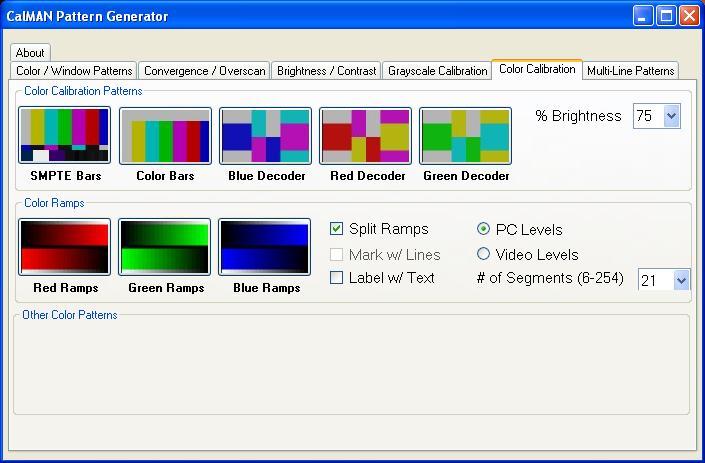 CalMAN HTPC Pattern Generator
