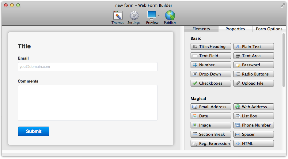 CoffeeCup Web Form Builder Lite for OS X