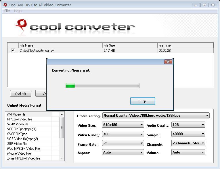Cool FreeAVI DIVX to All Video Converter