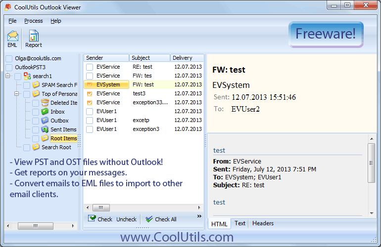 Coolutils Outlook Viewer