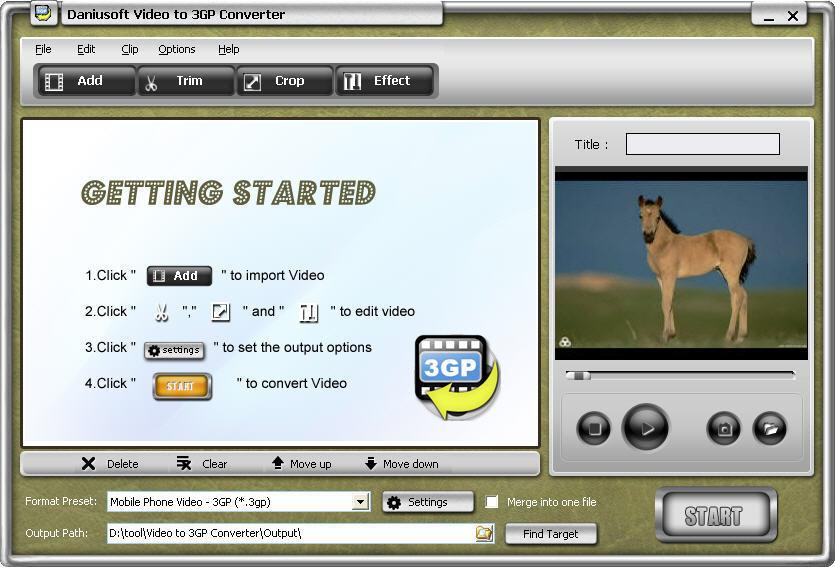 Daniusoft Video to 3GP Converter