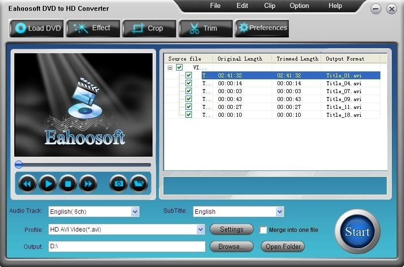 Eahoosoft DVD to HD Converter