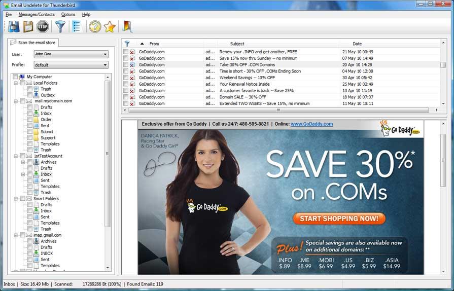 Email Undelete for Mozilla Thunderbird
