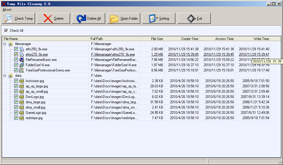 FMS Temp File Cleanup