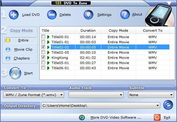 Free 123 DVD to Zune