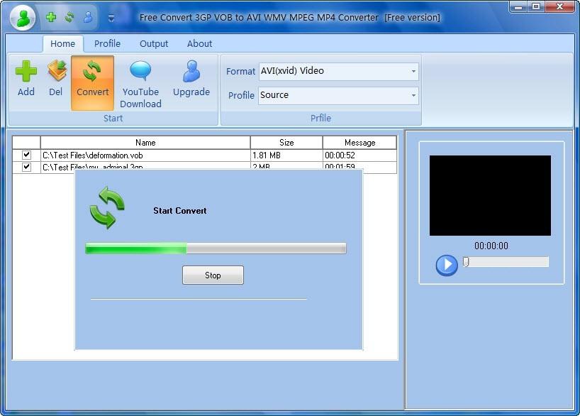 Free Convert 3GP VOB to AVI WMV MPEG MP4