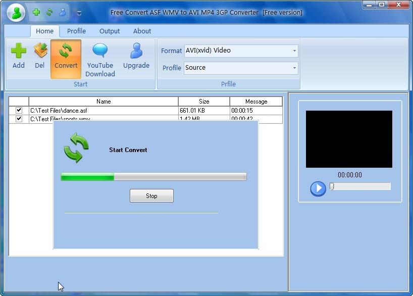 Free Convert ASF WMV to AVI MP4 3GP