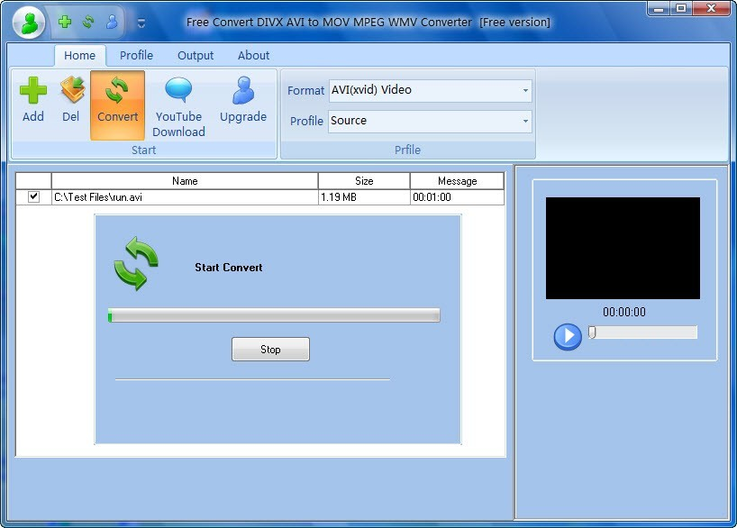Free Convert DIVX AVI to MOV MPEG WMV