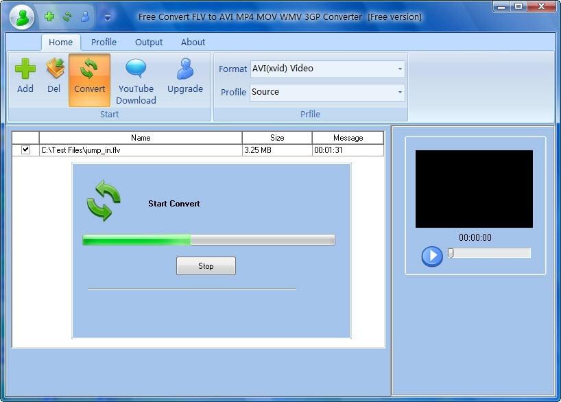 Free Convert FLV to AVI MP4 MOV WMV 3GP