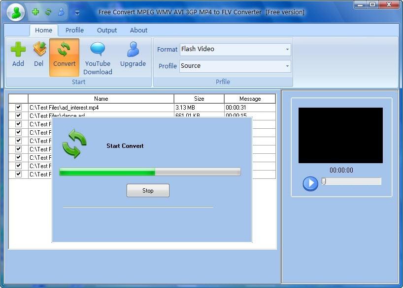 Free Convert MPEG WMV AVI 3GP MP4 to FLV