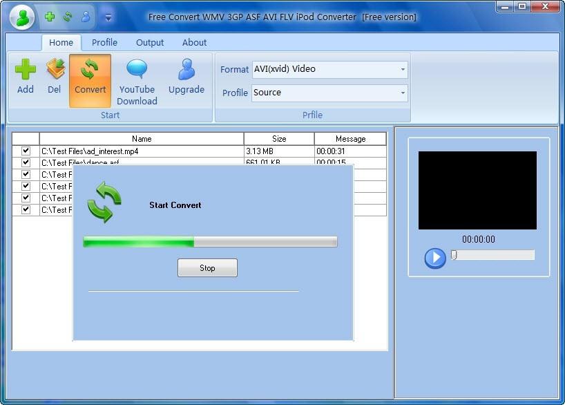 Free Convert WMV 3GP ASF AVI FLV iPod