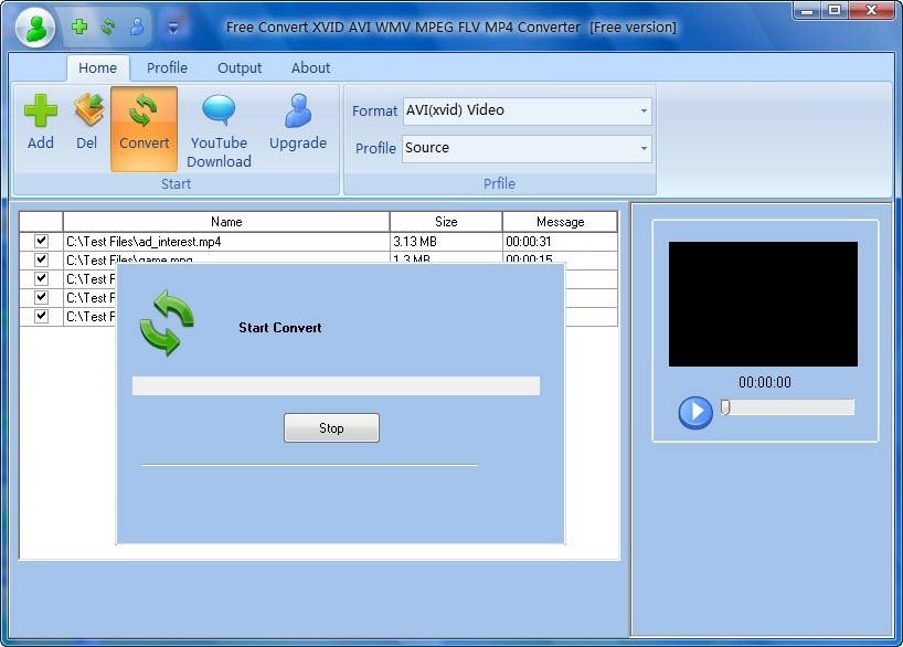 Free Convert XVID AVI WMV MPEG FLV MP4