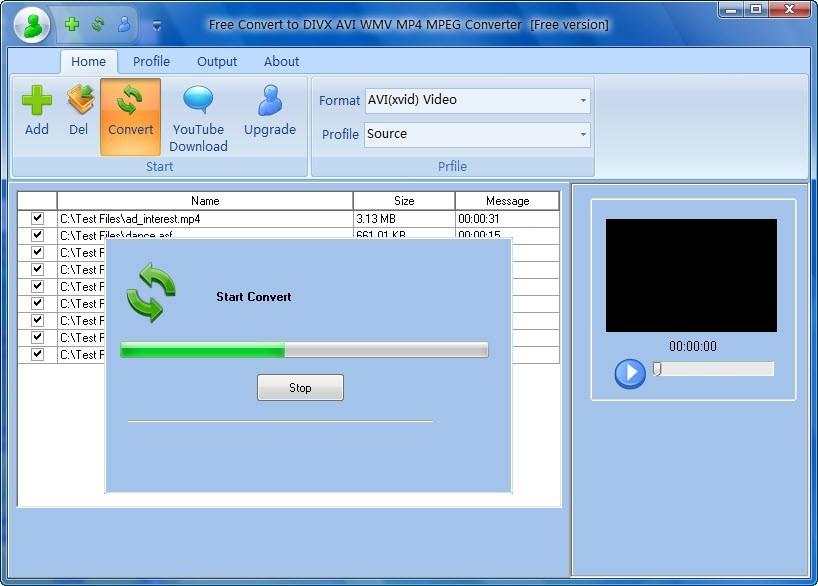 Free Convert to DIVX AVI WMV MP4 MPEG