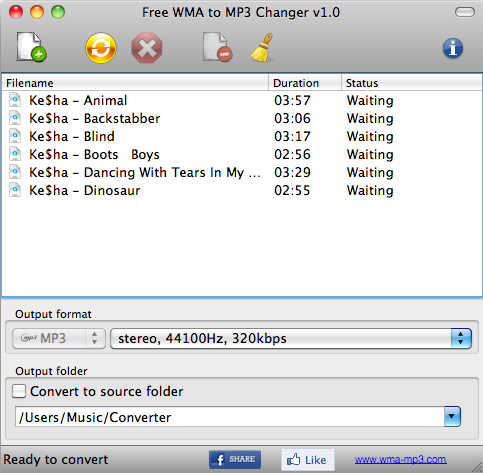 Free WMA to MP3 Changer MAC
