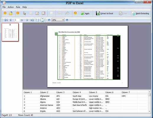 Goltech PDF to Excel