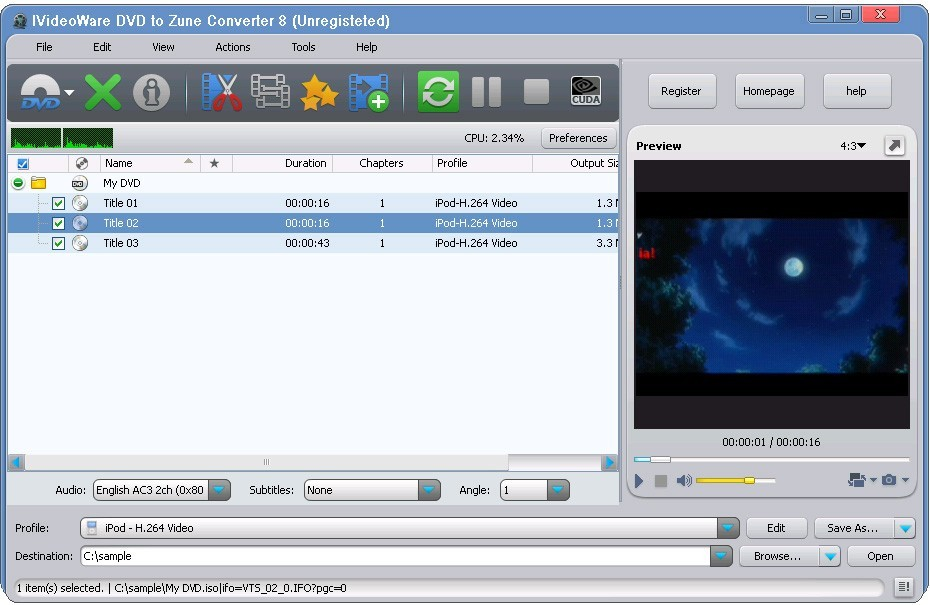 IVideoWare DVD to Zune Converter