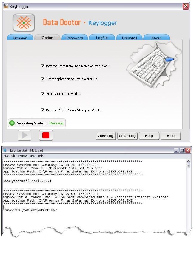 Keystrokes Monitoring Tool