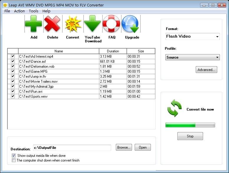 Leap AVI WMV DVD MPEG to FLV Converter