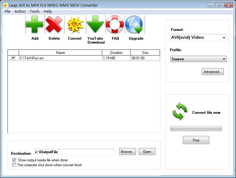 Leap AVI to MP4 FLV MPEG WMV Converter