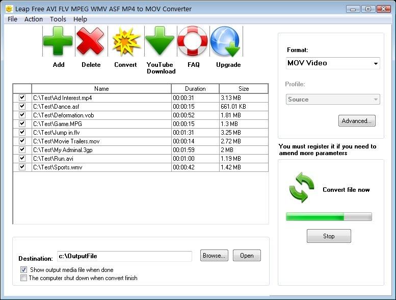 Leap Free AVI FLV MPEG WMV to MOV