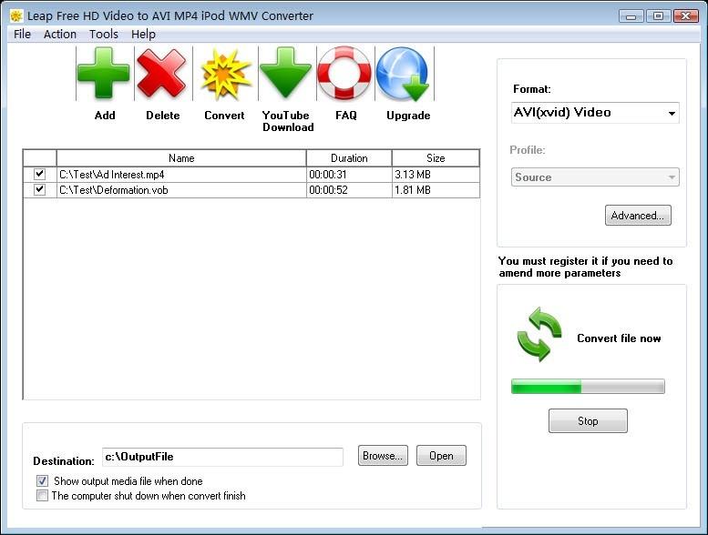 Leap Free HD Video to AVI MP4 iPod WMV