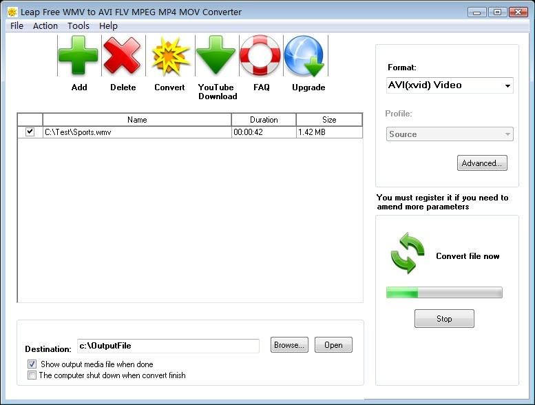 Leap Free WMV to AVI FLV MPEG Converter