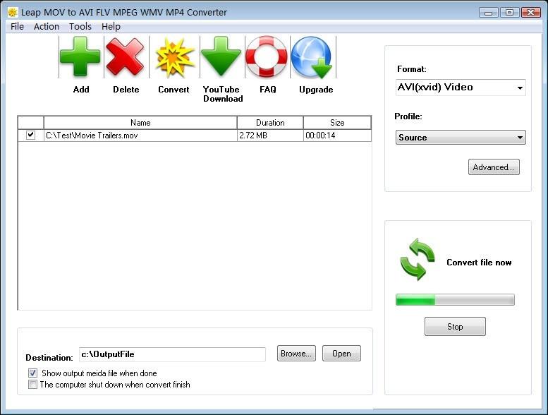 Leap MOV to AVI FLV MPEG WMV Converter