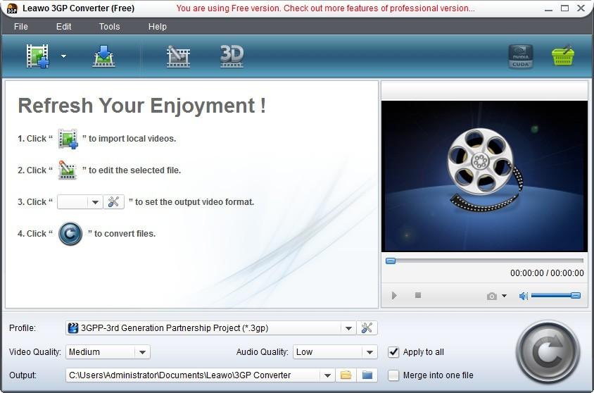Leawo Free MP4 to 3GP Converter