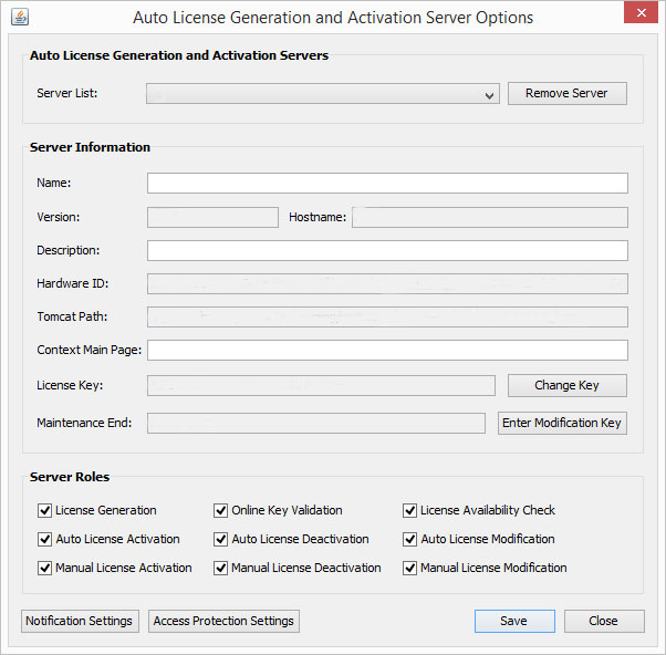 License Generation and Activation Server