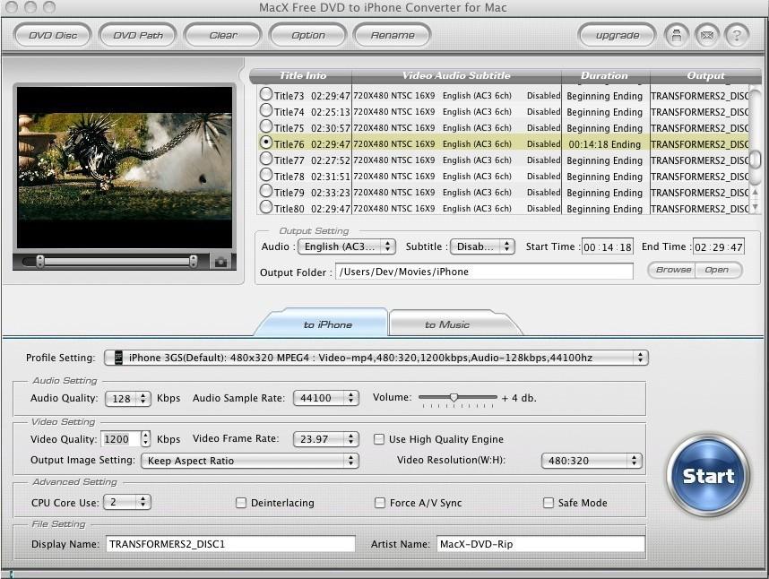 MacX DVD to iPhone Converter Mac