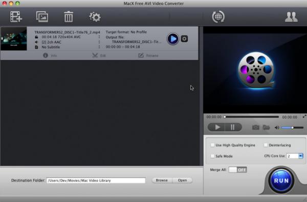 MacX Free AVI Video Converter