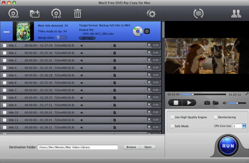 MacX Free DVD Rip Copy for Mac