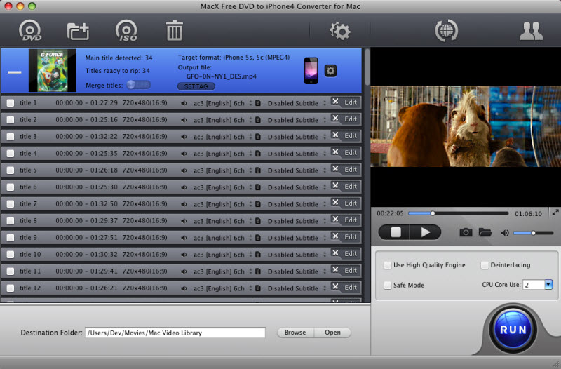 MacX Free DVD to iPhone4 Converter