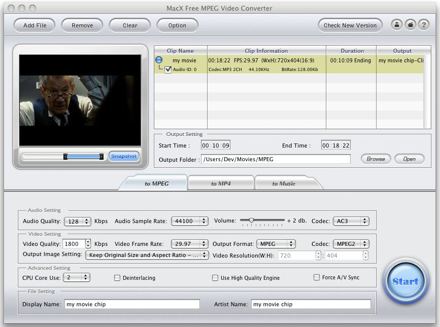 MacX Free MPEG Video Converter for Mac