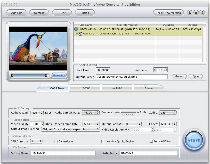 MacX QuickTime Video Converter Free Edit